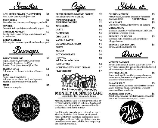 Monkey Business Cafe Drinks and Desserts